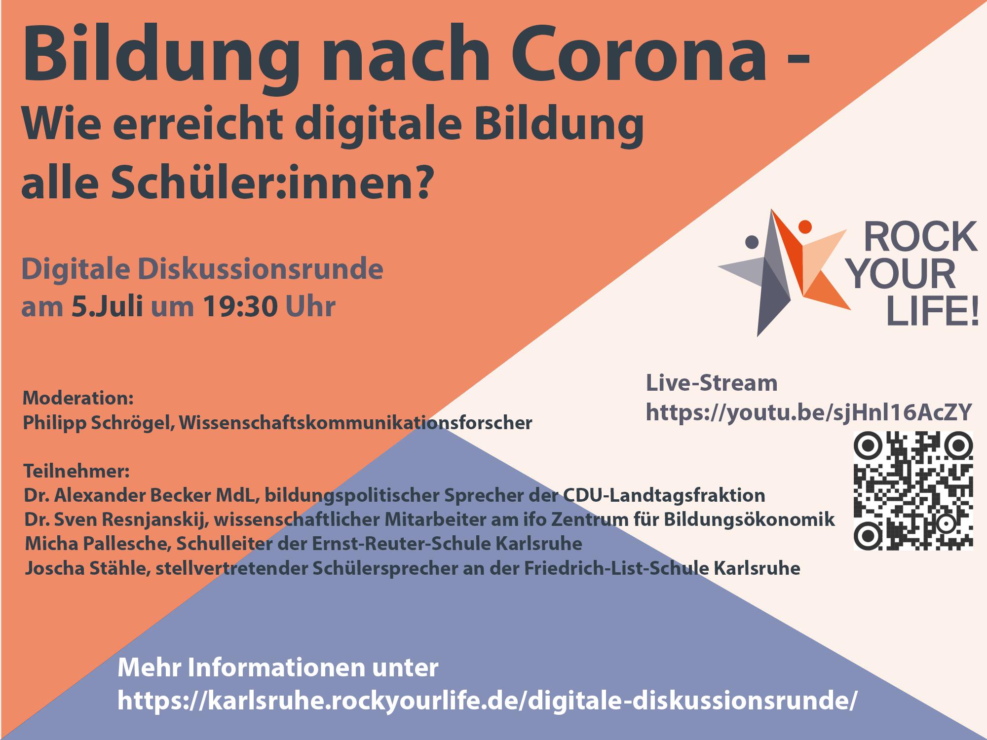 Digitale Diskussionsrunde: Bildung nach Corona – Wie erreicht digitale Bildung alle Schüler:innen?